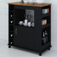 Wheeled Kitchen Cart With Six Small Cubbies Stylish Home Furniture Black Finish