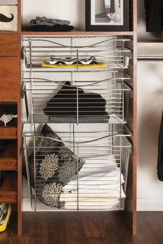 Give your closet a sleek look with Rev-A-Shelf® Closet Pull-Out Baskets. Coated in a Chrome Finish, these baskets easily install with cloth basket liners, helping you keep everything neat and tidy.