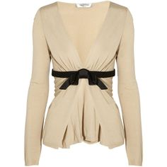 Valentino Bow-detailed fine-knit cardigan ($585) ❤ liked on Polyvore featuring tops, cardigans, sweaters, outerwear, jackets, beige, bow cardigan, brown tops, slim fit cardigan and brown cardigan