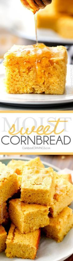 This homemade Sweet Cornbread is AMAZING! Super moist and tender with just the right amount of sweetness. Everyone always asks me for this recipe because its the best out there! via @carlsbadcraving