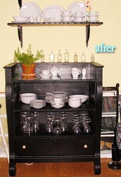 repurposed dresser- what a perfect little idea for kitchen storage. Pretty too.