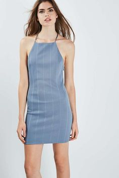 ce852142757 ex TOPSHOP PETITE Middle Blue Chain Strap Bandage Dress UK 4-12 RRP £29.90