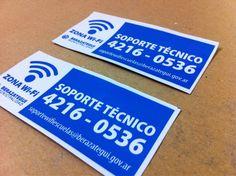 Parte de los últimos trabajos: impresión de stickers en vinilo impreso para la Municipalidad de Berazategui