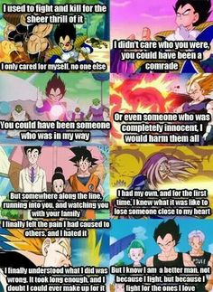 Vegeta talking to Goku. One of the best character transformations