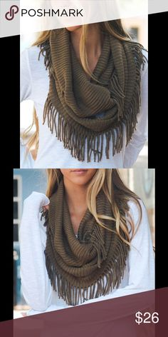 """NEW LISTING! Mocha Ribbed Fringe Infinity Scarf Get the layered look within this infinity scarf which can me looped lace or twice or multiple times for a cozy and chic look. 14"""" W x 54"""" circumference with 3"""" fringe. 100% acrylic. Hand wash. Accessories Scarves & Wraps"""
