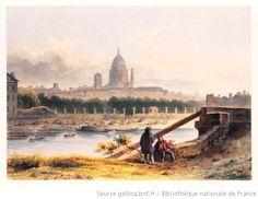 Vue du Panthéon prise de l'île Louviers  Charles Ransonnette, 1832