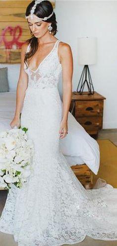 Mermaid Style Lace V-neck Court Train Beach Wedding Dresses 33b890b2773f