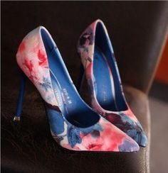 Hot Women Pump Pointed Oe High Heel Floral Multi-Color Party Shoes X736