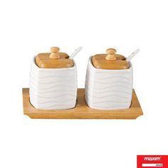 Maxim 2 Container Condiments Set With Wooden Lid