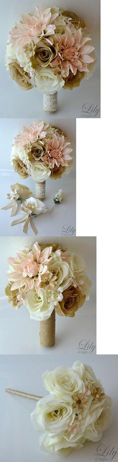 Flowers Petals and Garlands 20938: 17 Piece Package Silk Flower Wedding Bridal Bouquet Rustic Peach Ivory Tan Beige -> BUY IT NOW ONLY: $239.99 on eBay!