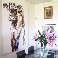 Original painting in customer home Amazing Paintings, Original Paintings, Belgian Blue, Contemporary Frames, Oil Rig, Oil On Canvas, Gallery Wall, Fine Art, Galleries