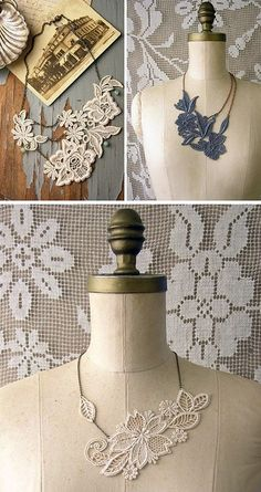 DIY Create your own vintage lace necklace using lace + fabric stiffener Jewelry Crafts, Handmade Jewelry, Fabric Stiffener, Diy Collier, Choker Collier, Do It Yourself Fashion, Lace Necklace, Lace Earrings, Fabric Necklace