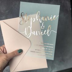 Why not branch out from paper and try these transparent invites with metallic writing? We love keen couples that are game to try different…