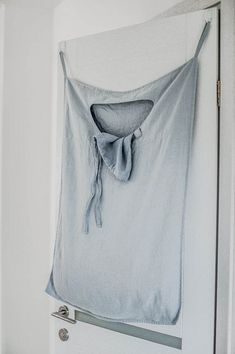 Ice blue/silver grey hanging linen laundry bag