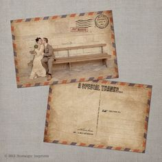 Send along your thanks with the Eloise Thank You Postcard, a modern post card designed to look like an antique airmail letter from the 1940s. A red and blue border is featured on the front and back.