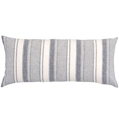 Pair this tailored linen decorative pillow, featuring classic indigo ticking stripes, with soft whites and a cozy throw for an easy, breezy beach house vibe. Crafted to be an exact color match for our Keaton Linen Indigo duvet and shams. • 100% linen. • Vertical stripes. • Knife edge. • Zipper closure.