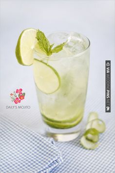 Daily's Mojito  2 ½ oz. Daily's Mojito Mix  1 ¼ oz. white rum  Fill glass with soda  Garnish with a fresh mint sprig and a lime squeeze.  Daily's already muddled the mint and limes, you just need to add the rum. Refreshing, decadent amazing. | CHECK OUT MORE IDEAS AT WEDDINGPINS.NET | #weddingfood #weddingdrinks