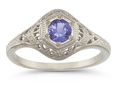 #Circa 1800s Style #Vintage #Tanzanite Ring in Sterling Silver -