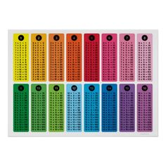 Children's Math 16 Times Tables Poster