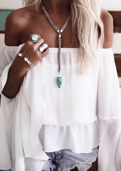boho white top