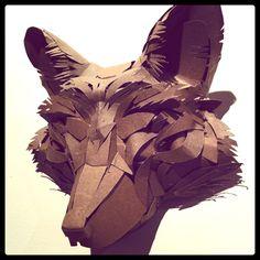 Fox Mask - cardboard sculpture by Jacqui Oakley