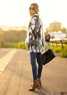 Multicolor Faux Fur Collarless Coat -SheIn(Sheinside)