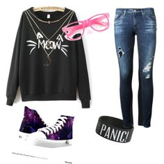 The cat in Panic! by grayciespitzer on Polyvore featuring AG Adriano Goldschmied and Charlotte Russe