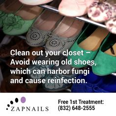 Can't beat toenail fungus? It may be your old shoes! If you can't throw them out, use a disinfectant or anti-fungal powder to cut the risk! Or call us for a free consultation: (832) 500-5630 • http://zapnails.com