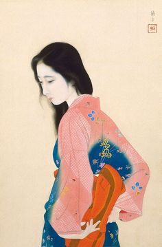 Tadaoto Kainosho- Beauty looking back (circa 1928). IWR - Art and Culture Archive - Beautiful Paintings of Women, Music, Videos