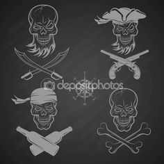 Эмблемы черепа на пиратскую тему — стоковая иллюстрация #73420081