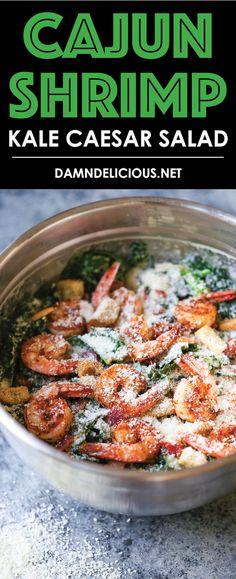 Cajun Shrimp Kale Caesar Salad - Everyone's favorite caesar salad using hearty kale greens! And made even more epic with perfectly seasoned cajun shrimp.