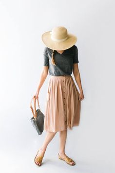 'Skye' Skirt - The Main Street Exchange Feminine meets practical in this sweet button-down skirt with front pockets and a softly gathered waist. An attached slip means no. Modest Fashion, Fashion Outfits, Fashion Trends, Apostolic Fashion, Feminine Fashion, Apostolic Style, Fashion Skirts, Fashion Ideas, Fashion Blogs
