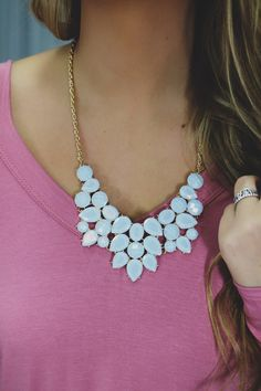 Light Blue Jeweled Statement Necklace | UOIonline.com: Women's Clothing Boutique