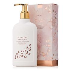 Thymes Goldleaf Gardenia Body Crème moisturizes with shea butter, honey, aloe vera, vitamin E & Chinese magnolia flower extract. A fan-favorite body lotion! Skincare Packaging, Luxury Packaging, Tea Packaging, Bottle Packaging, Print Packaging, Beauty Packaging, Cosmetic Packaging, Product Packaging, Gardenia Perfume