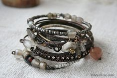 Bangle Stack 118b  set of 10 Bangles  urban gypsy by TuscanRose