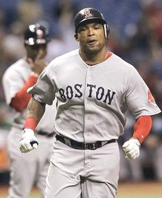 Game #38: Cody Ross homered and drove in 4 runs, Felix Doubront won his 3rd in a row as the Red Sox beat the Rays 5-3. Ross extended Boston's lead to 5-2 on a 2 run single in the 8th. Doubront allowed 2 runs and 6 hits in 5 2-3 innings. Boston went ahead 2-0 on Marlon Byrd's 2nd inning homer. Ross made it 3-0 with his seventh homer, on an 0-2 pitch with two outs in the third. Pictured:  Marlon Byrd heads for home after hitting a 2nd inning home run off Rays pitcher Matt Moore.
