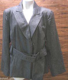 Lane Bryant Plus Size 20 Belted Tweed Blazer Office Career Jacket Cotton Blend
