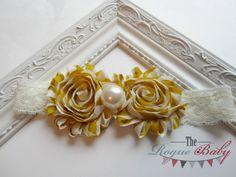 Mustard Yellow & Cream Baby Headband   Photo Prop  by TheRogueBaby