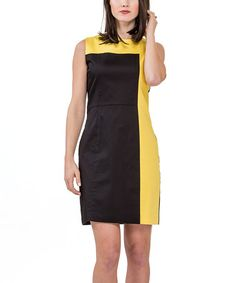 Another great find on #zulily! Black & Yellow Color Block Dress #zulilyfinds