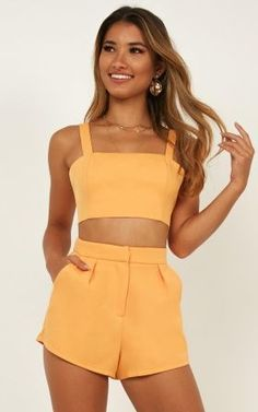 Forgot Me Two Piece Set In Sherbet Produced - Source by minis_miriam - Cute Summer Outfits, Cute Casual Outfits, Stylish Outfits, Spring Outfits, Fashion Outfits, Dress Casual, Steampunk Fashion, Gothic Fashion, Two Piece Outfits Shorts