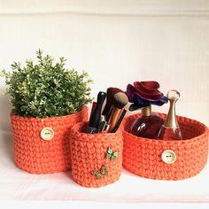 Crochet baskets Coral/Orange Set of 3