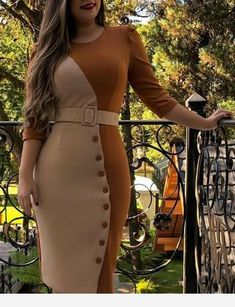 Casual Color Block Buttons Pencil Sheath Dress more than 500 daily women's clothing, shoes, jewelry, bags and much more. Simple Dresses, Elegant Dresses, Day Dresses, Casual Dresses, Latest African Fashion Dresses, African Print Fashion, Office Dresses For Women, Dresses For Work, Classy Dress