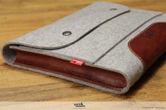 Tablet case felt leather iPad Air iPad 4/3/2 by packandsmooch