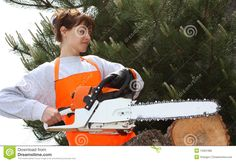 A Woman With A Chainsaw Royalty Free Stock Images - Image: 14301389