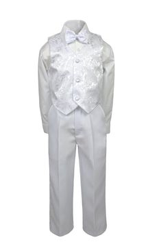 Toddler Baby Boy Kid Formal Party Tuxedo Suit White Dress Shirt RED Bow tie Sm4T