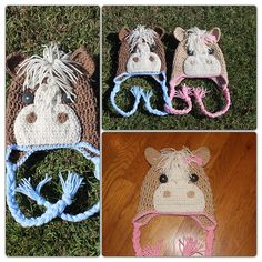Inspiration  Ravelry: PDF Pattern for Crochet Horse Beanie. Sizes 1 year to adult. pattern by Knick Knack Krafty Shack