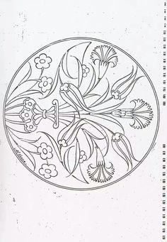 Embroidery Patterns of Turkish Çini motifi: from li. jwt I don't know what these Designs are Originally used for, they look like Scroll Work? They will make Beautiful Embroidery Work! Islamic Art Pattern, Pattern Art, Pattern Design, Turkish Design, Turkish Art, Ceramic Painting, Silk Painting, Turkish Pattern, Blue Pottery