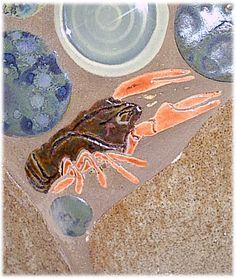 crayfish shaped mosaic tile