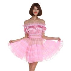 This gorgeous sissy dress is the ultimate high-quality costume for the sissy crossdresser. It will definitely bring out the sissy in you. Material: Satin Two Piece Dress Cos Component: Top , Skirt Model Number: Sexy Dresses, Cute Dresses, Vintage Dresses, Girls Dresses, Pink Outfits, Pretty Outfits, Beautiful Outfits, Sexy School Girl Costume, Off Shoulder Dresses