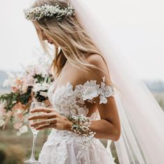 Gala by Galia Lahav boho wedding dress - - Impressive ball gown dress with a rosé sheer tulle skirt with handmade flower appliques and off the shoulder sleeves. Affordable Wedding Dresses, Dream Wedding Dresses, Bridal Dresses, Wedding Gowns, Whimsical Wedding Dresses, Woodland Wedding Dress, Whimsical Dress, Wedding Dresses With Flowers, Hair Flowers